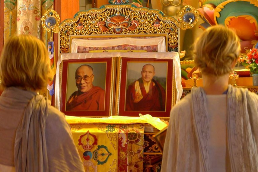 Images of Dalai Lama and Karmapa in yoga retreat in Nepal