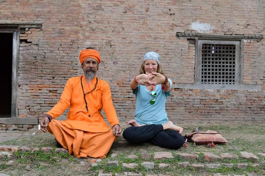 Heather Elton with Baba Nath at Pashupatinath