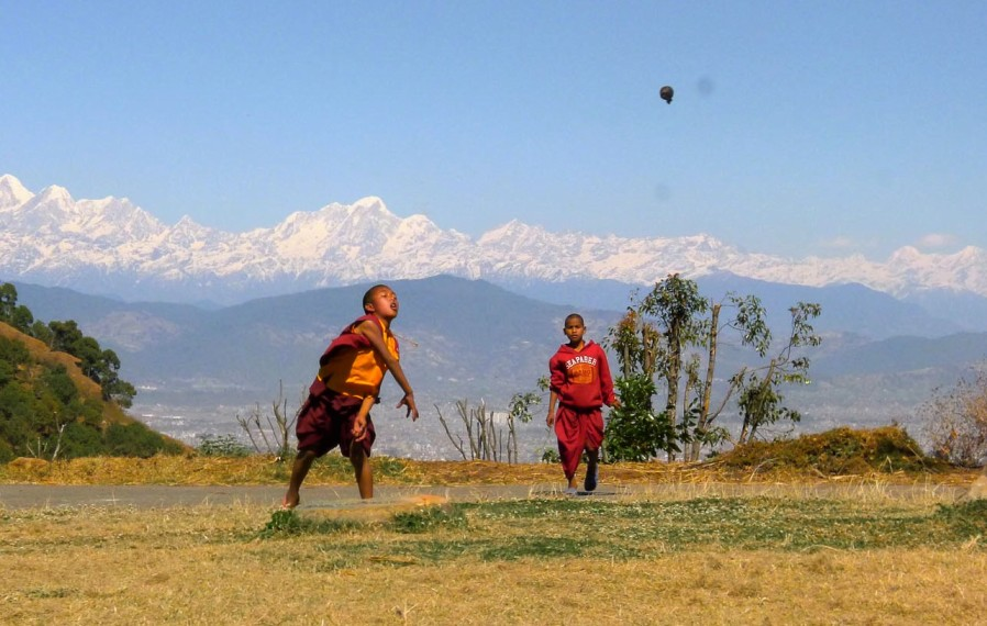 Supporting young monks, John Scott yoga retreat Nepal